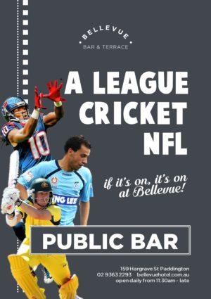 Bellevue Summer Sport Cricket A League Sydney FC NFL Superbowl Pub Paddington