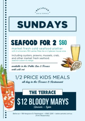 Seafood Platter Bellevue Terrace Bar Sunday Sessions