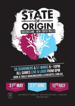 State of Origin Pub Bellevue Paddington Sydney Woollahra Happy Hour $1 Chicken Wings
