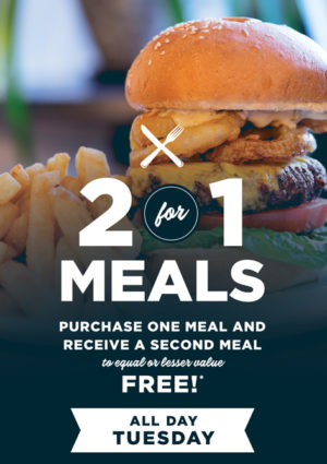 2for1 Meals Bar Pub Special Deal Tuesday Cheap